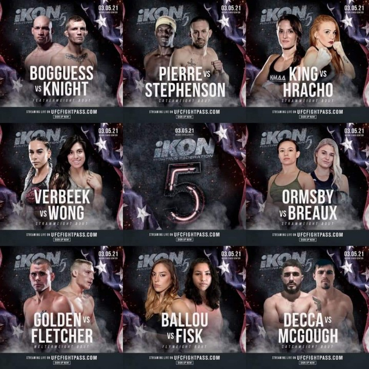 Here is tonight's #iKON5 lineup which starts now! @UFCFightPass #WMMA #MMA #MMATwitter