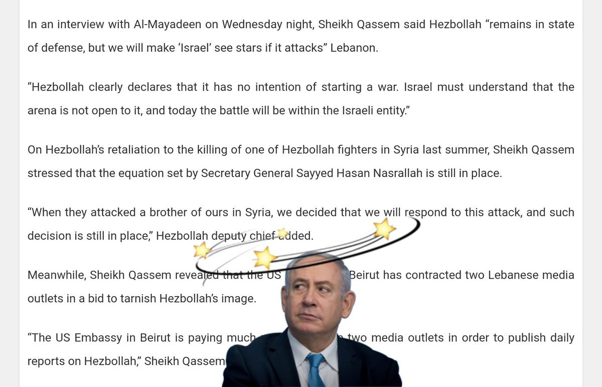 """#Lebanon> Sheikh Na'eem Qassem said #Hezbollah """"remains in state of defense, but we will make '#Israel' see stars if it attacks"""" Lebanon. 💫  """"Israel must understand that the arena is not open to it, & today the battle will be within the Israeli entity"""", the sheikh added.  #Iran"""