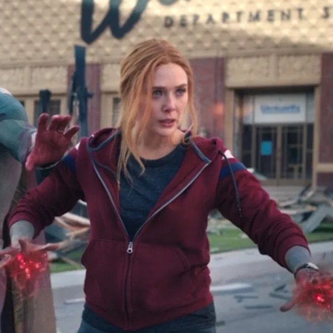 """Jim Maxwell on Twitter: """"Watching the WandaVision finale, my biggest takeaway is that I like Wanda's hoodie and think I would look really good wearing it.… https://t.co/uCwzsmFUQq"""""""
