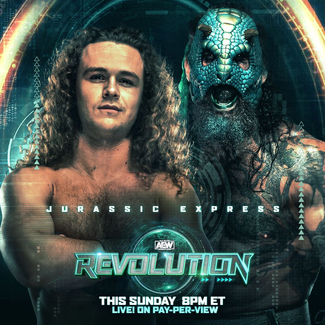 The #JurassicExpress @boy_myth_legend & @luchasaurus have entered the #AEWCasino tag-team royale this Sunday at #AEWRevolution. RT on which team you think takes the win and gets a shot at the #AEW world tag team championships?  Watch #AEWRevolution, LIVE, this Sunday on PPV 8/7c