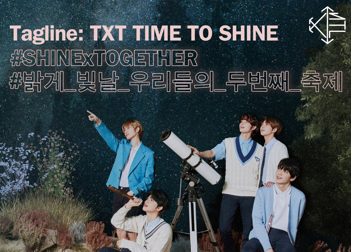HASHTAG | 210306  Here are the hashtags & tagline we are going to use for the FANLIVE.  Tagline: TXT TIME TO SHINE #/SHINExTOGETHER  #/밝게_빛날_우리들의_두번째_축제  @TXT_members @TXT_bighit #TXT #TOMORROW_X_TOGETHER  #투모로우바이투게더
