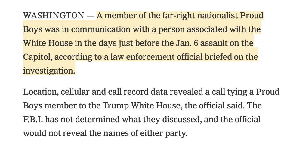 BREAKING: @FBI has found contact between a #ProudBoys member and a Trump associate days before the January 6th #Capitol siege.  Scoop: @ktbenner @alanfeuer & @adamgoldmanNYT  https://t.co/ehMi41a03O https://t.co/laTaMIML70