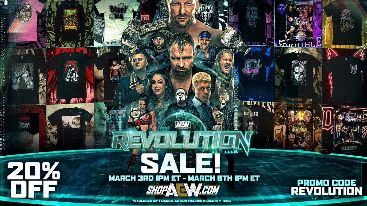 Get in quick while there is still time! The #AEWRevolution sale on  ends Monday, March 8th at 1pm ET. Use the promo code REVOLUTION and get 20% off your entire online order -  @ShopAEW