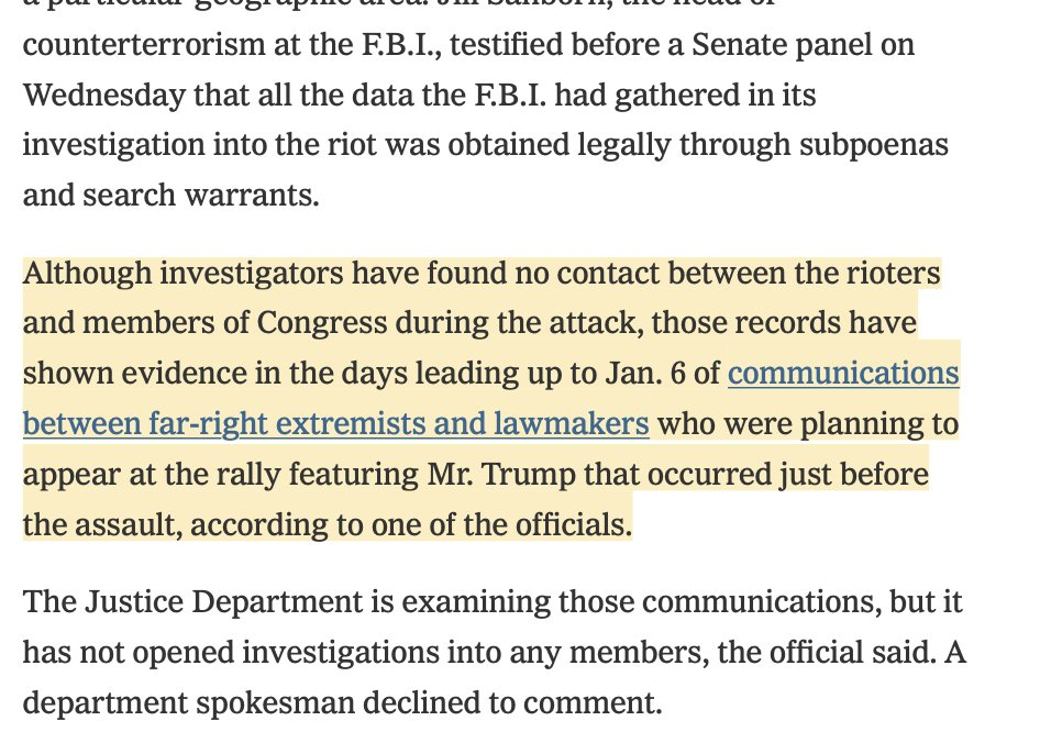 3/ Also: same data hasn't surfaced communication between members of Congress & rioters during #Capitol siege.  ...but there are records of communications between far-right extremists & lawmakers that planned to appear at Tump rally that morning. https://t.co/j8lvvj2fvy