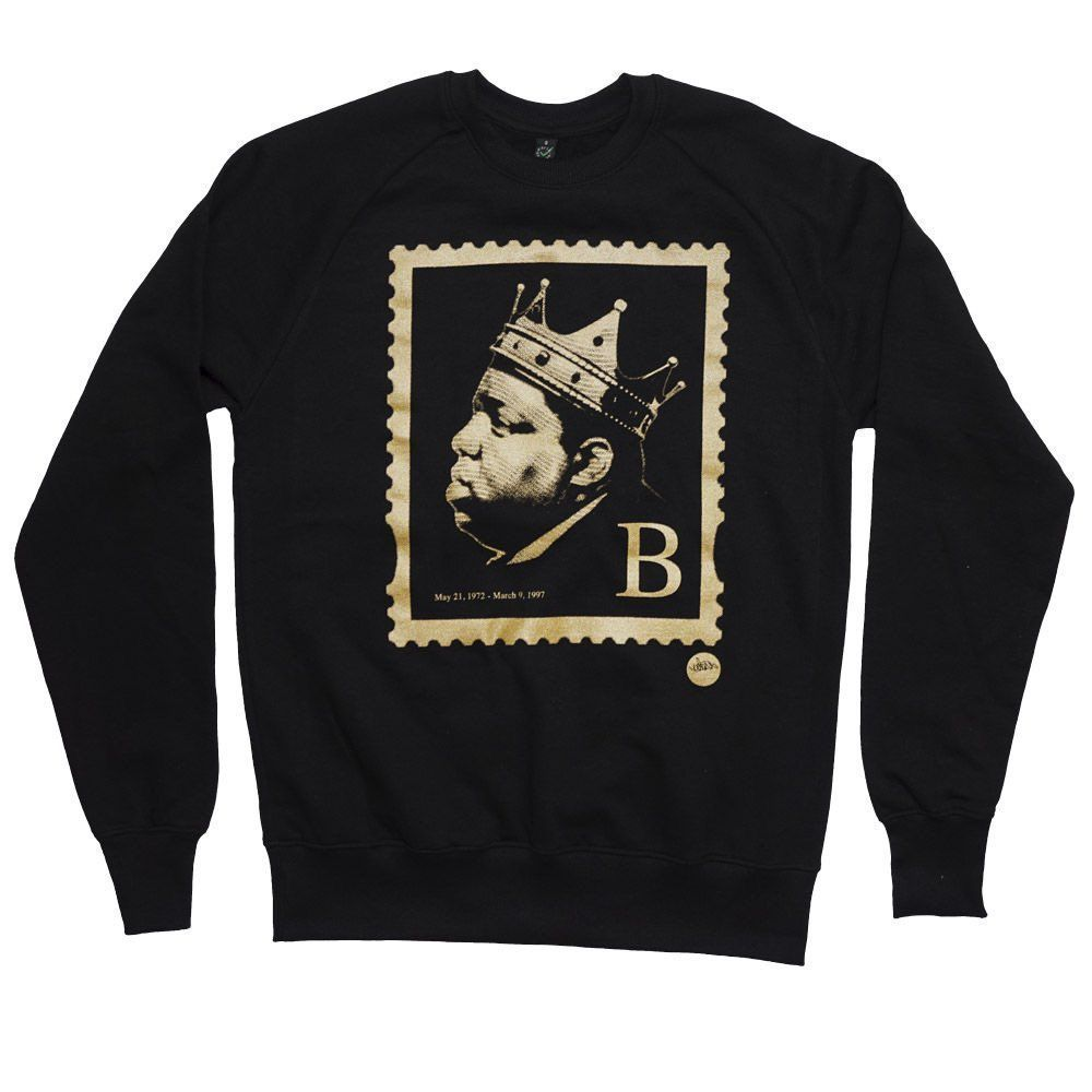LAST ORDERS! The illest... the Biggie B' Stamp Sweater by  @madina_design  order here >>  <<  #hiphop #stamp #stamps #summer #biggie #biggiesmalls #theillest #brooklyn #bedstuy #notoriousbig #clothing #fashion #streetwear #blackandgold