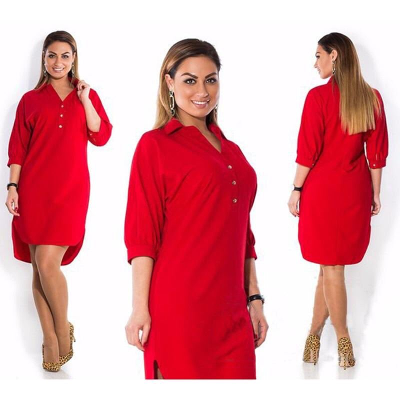 Casual Dress 3/4 Sleeve Solid Color $25.06 #plusizemodel #plusizefashion #plusizebrasil #plushiesofinstagram #plusizeaddict #plusizebeautyqueen #fashionista #beautyplusize #beautybiggirl #plusizeisbeautiful #like #follow visit the store @