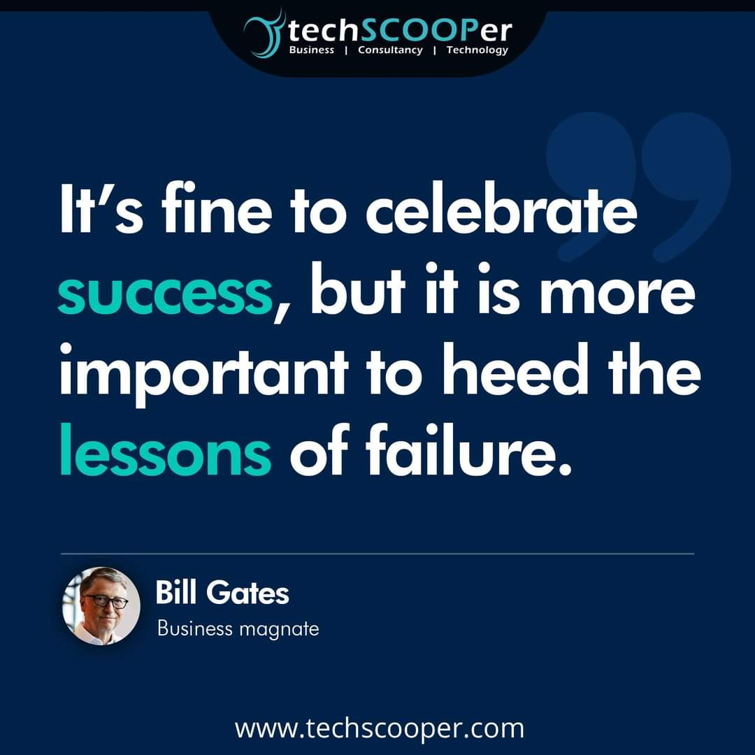 """""""It's fine to celebrate success, but it is more important to heed the lessons of failure."""" - Bill Gates    #motivation #quote #motivationalquote #BillGates"""