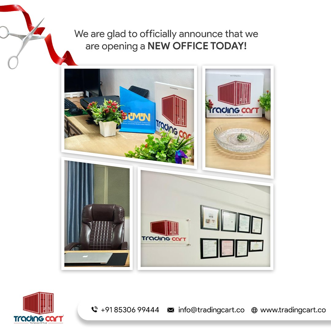 Announcing The Opening of Trading Cart™! We are glad to announce that we are starting a new office in Badlapur, Maharashtra.  Today i.e. 06-03-2021.  Stay tuned for updates. #office #work #design #officespace #workspace #export #import #logistics #business #shipping #exporter