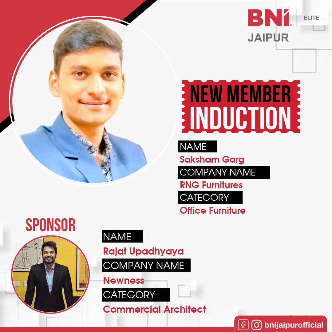 Welcome to the BNI family- Saksham Garg (RNG Furnitures- Office Furniture)- Elite . . . . #Bni #Jaipur #bniroyals #Welcome #Family #Induction #WeCare #GrowingForwardTogether #IamBNI #Leaders #Entrepreneurs #MyRegionMyPride #BNIGlobal #BNIIndia