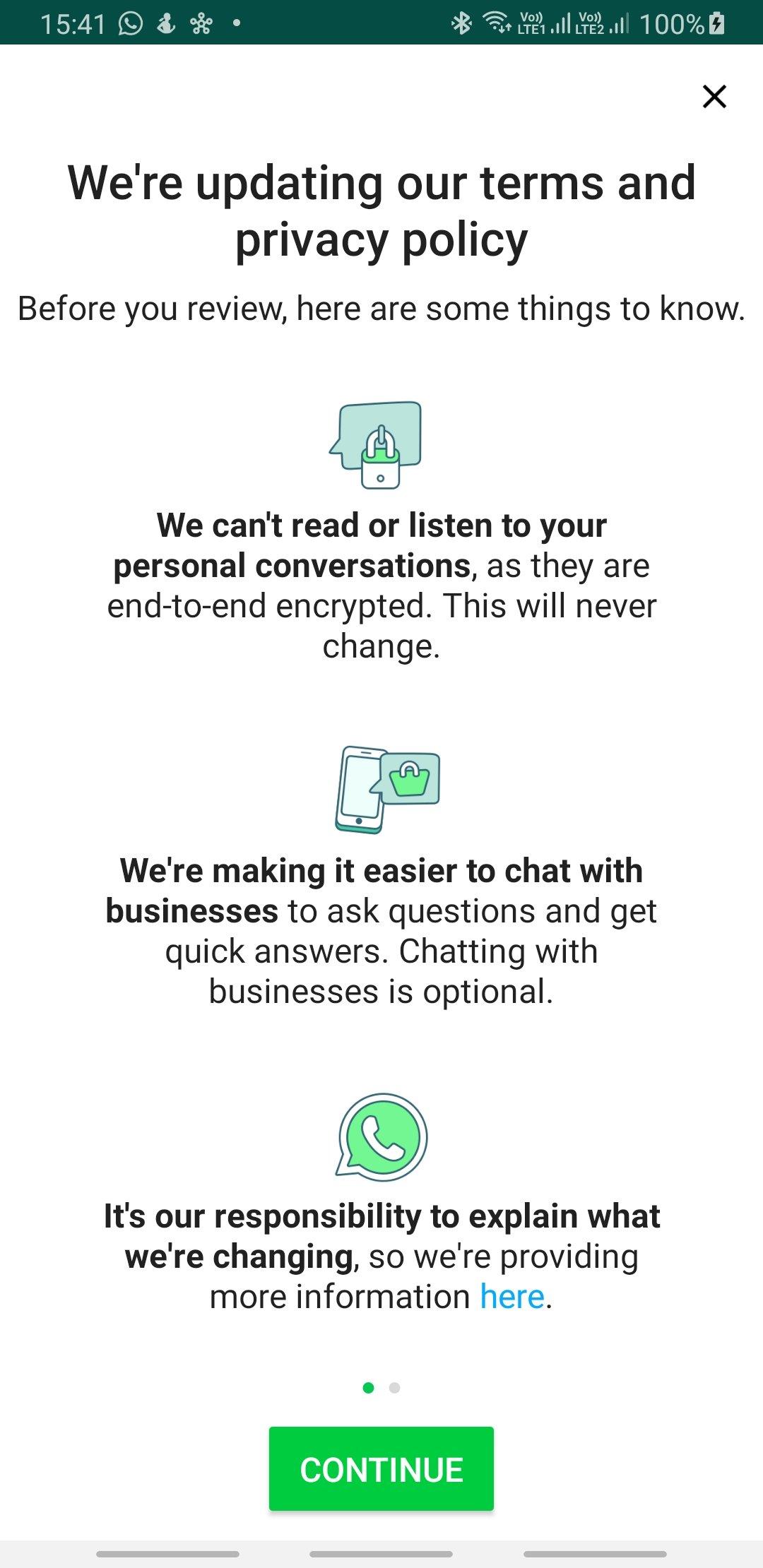 Screenshot of Reminder from WhatsApp Messenger.