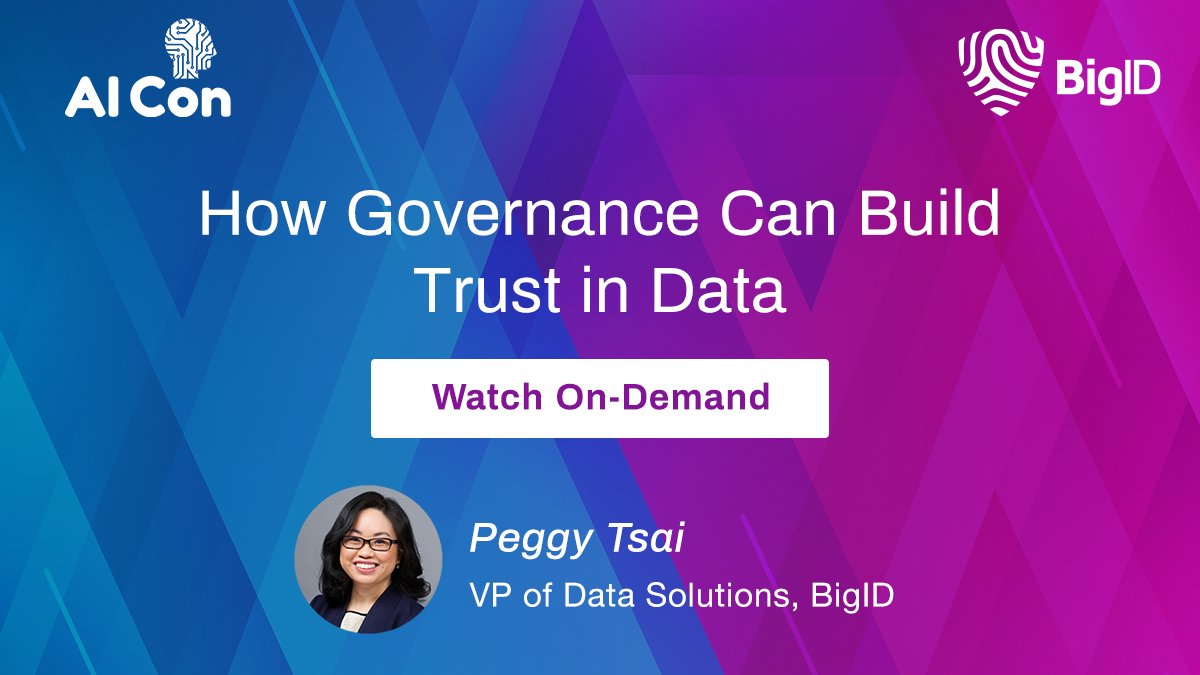 #BigID's @peggy_tsai explains how #DataGovernance can build trust in #Data. See how #AI  is changing our world — & learn more strategies you can implement across your entire data team. Watch it here >>  #DataManagement #DataProtection #DataDriven