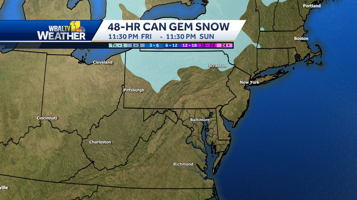 Raw computer model output from the Canadian GEM for snowfall over the next 48 hours.  #snow #MdWx #PaWx #VaWx #WvWx