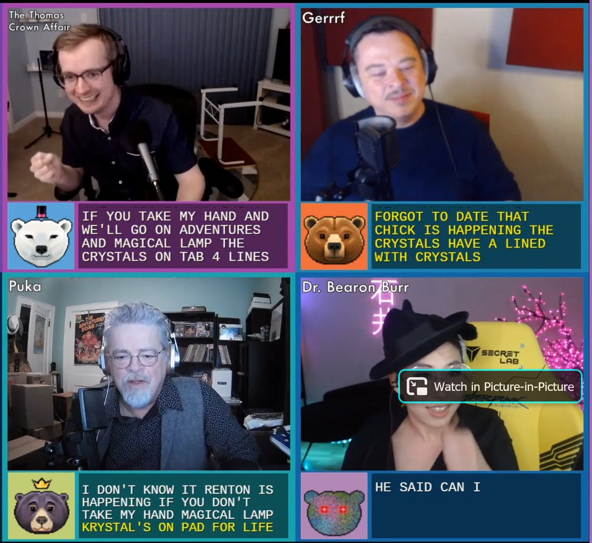 4/4 In which The @McElroyFamily sings together in perfect harmony and sync - a feat never before accomplished on live video chat!  👋👋  #TAZLive