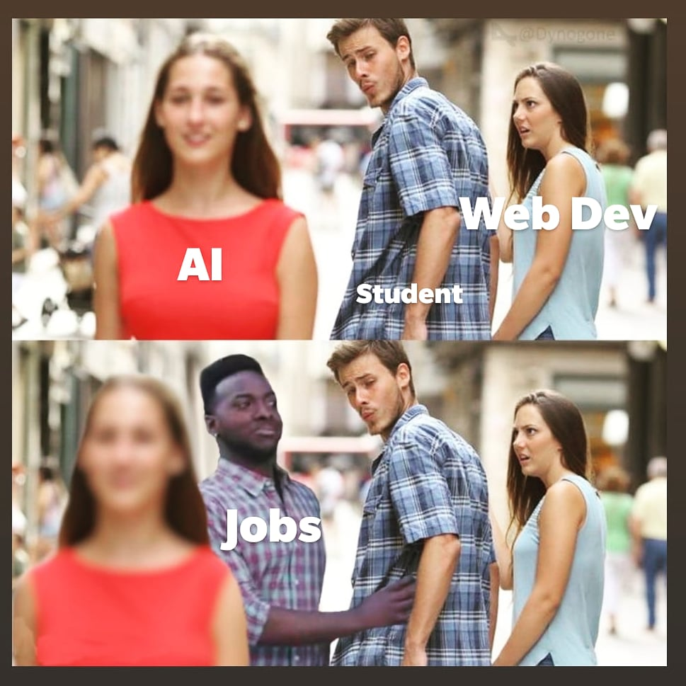 """Ton of students have wasted their time running behind the next """"shiny"""" thing: AI/AR/VR/Blockchain.  Please assess the entry level job market before getting into a field.   #webdevelopment"""