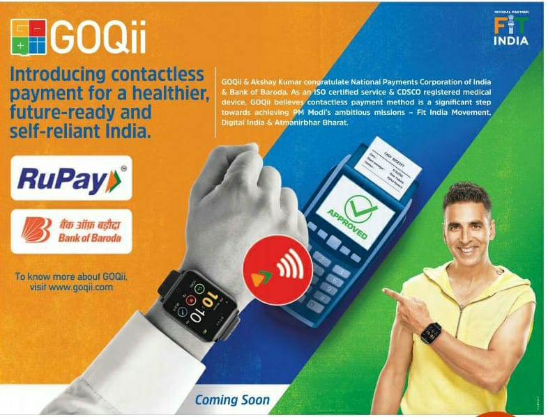 My congratulations to @NPCI_NPCI @bankofbaroda  @RuPay_npci for introducing #wearable contactless payment method, @GOQii. This is a significant step towards achieving PM @narendramodi's ambitious missions - @FitIndiaOff  @_DigitalIndia & #AtmaNirbharBharat! @vishalgondal https://t.co/TaSI3asvhQ
