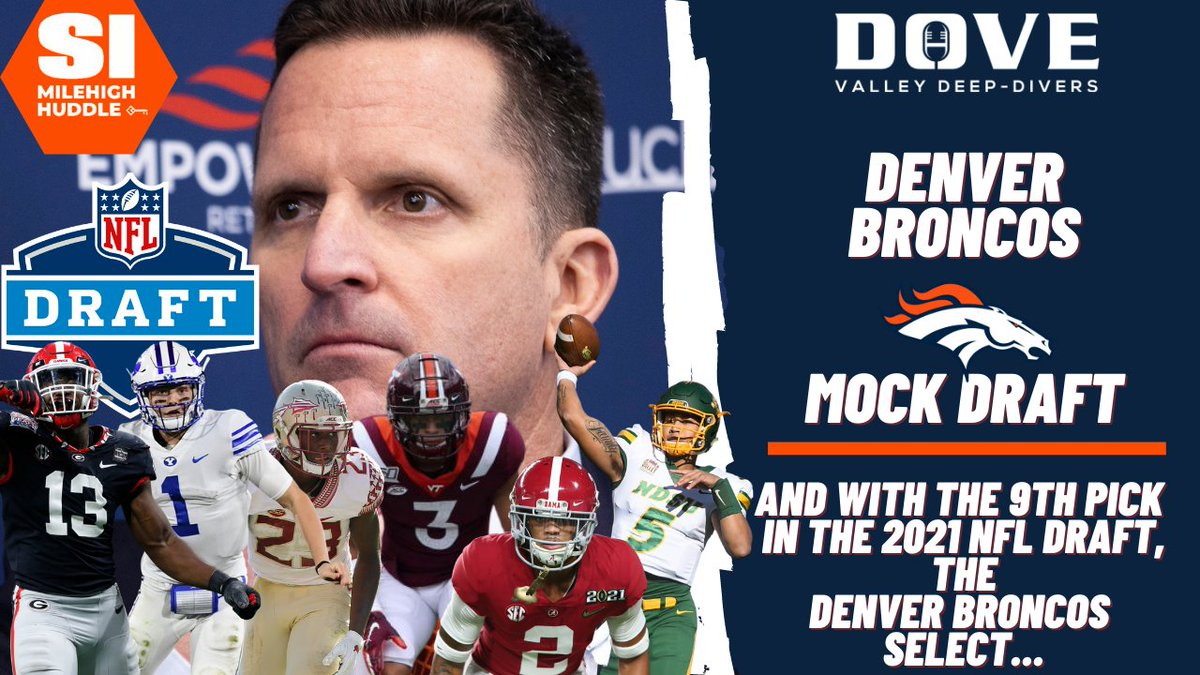 Tonight's pod! @ErickTrickel & @SandersonMHH welcome on MHH Superstar @broncos2005, the winner of the DVDD contest, to serve as #Broncos​ GM, with the hosts as the scouts, to execute a 7-Round mock draft. #NFLDraft​   LISTEN: https://t.co/BiiVXPGEZp https://t.co/GqhUnftX5R