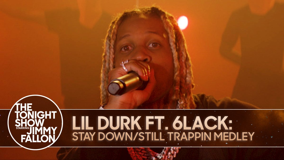 """🔥 #FallonTonight Tunes 🔥  @lildurk ft. @6LACK perform a medley of """"Still Trappin'"""" and """"Stay Down""""  WATCH ▶️"""
