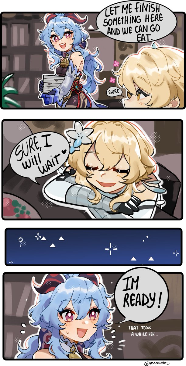 RT @Mechodes: ITS BEEN A WHILE SINCE I DID ONE OF MY SMALL GENSHIN COMICS.... T-them...🥺   #原神 #GenshinImpact https://t.co/gENpew93DD