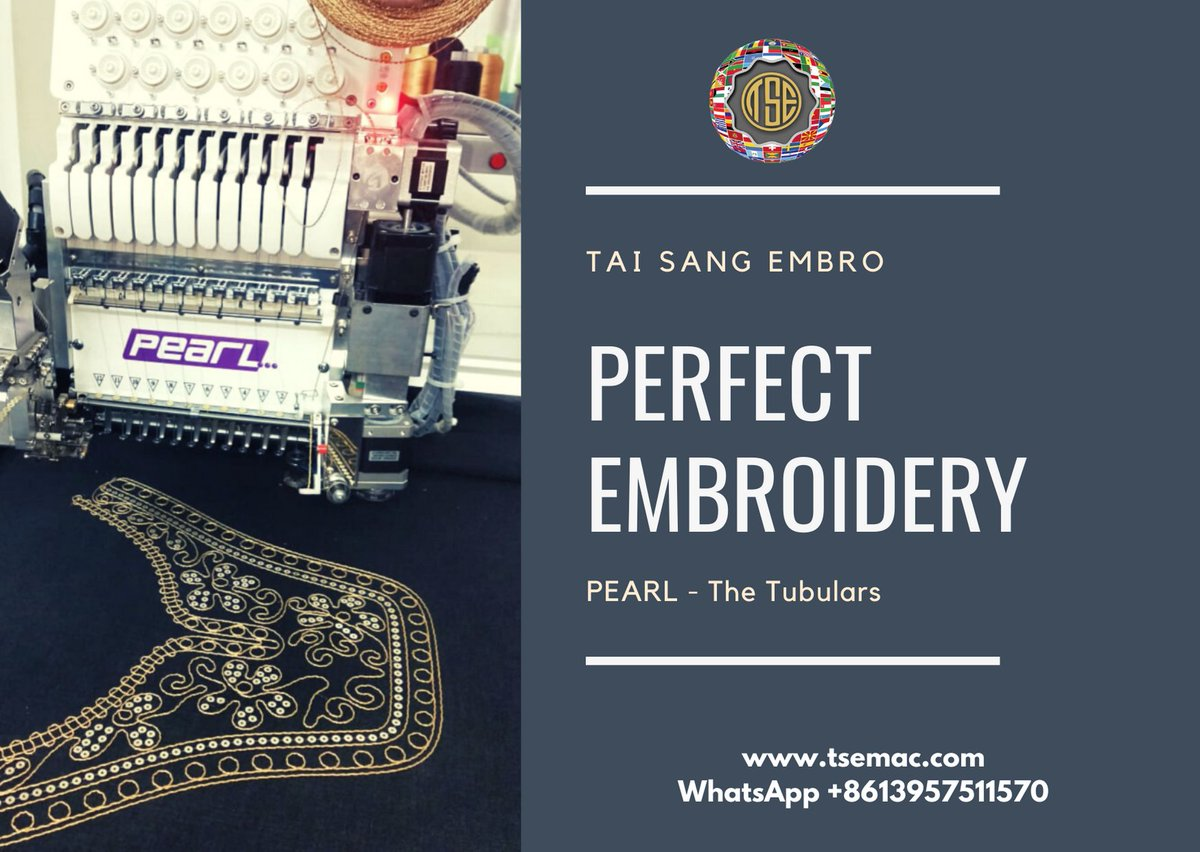 Tai Sang Embro | PEARL - Tubulars Tubular embroidery machines | multitask embroidery machines | 6 models in single head Fabulous embroideries on caps, tshirts, sweaters, purses, belts, collars, pockets WA +8613957511570  #taisang #machine #pearl #tubular #models #single #head