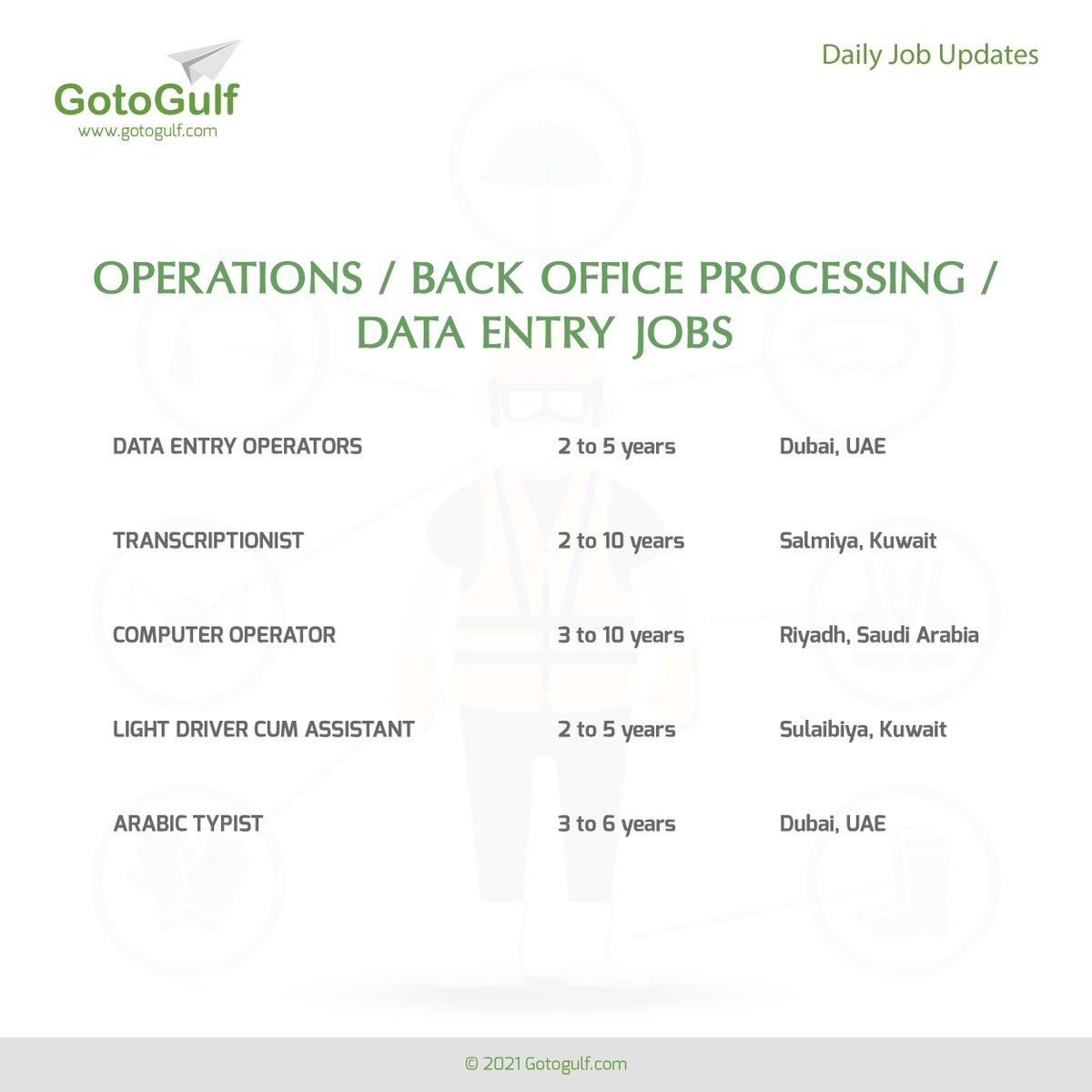 Click on the below link to apply for the job vacancies,   #gotogulf #jobs #middleeast #jobseeker #recruitment #operation #back #office #data #entry #transcriptionist #computer #operator #arabic #typist #light #driver #assistant #saudiarabia #kuwait #uae