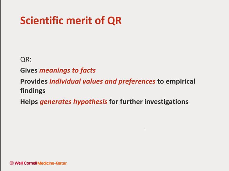 Dr. Honein-AbouHaidar talks about the scientific merits of qualitative research.   #IQR2021 #qualitativeresearch #qualitativesurveys #healthcare #datamanagement #thematic #sampling @WCMQatar @WeillCornell @AUBMC_Official @Mahfoud_Ziyad @GladysAbouha