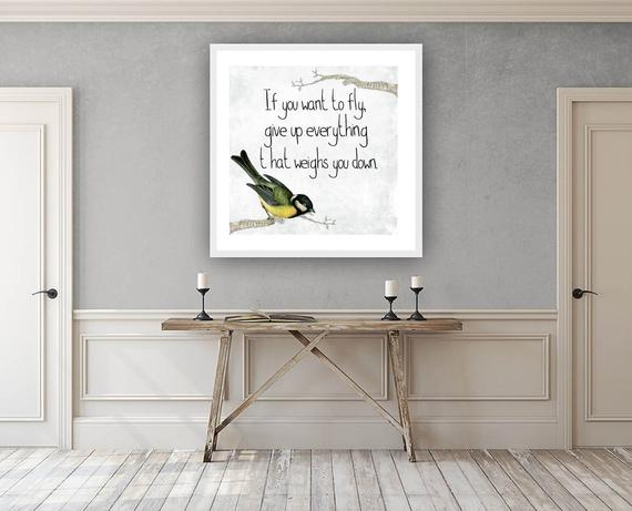 Inspirational Quote Print - Freedom Bird Illustration Hallway Picture   #quoteart #inspiration #typography #print