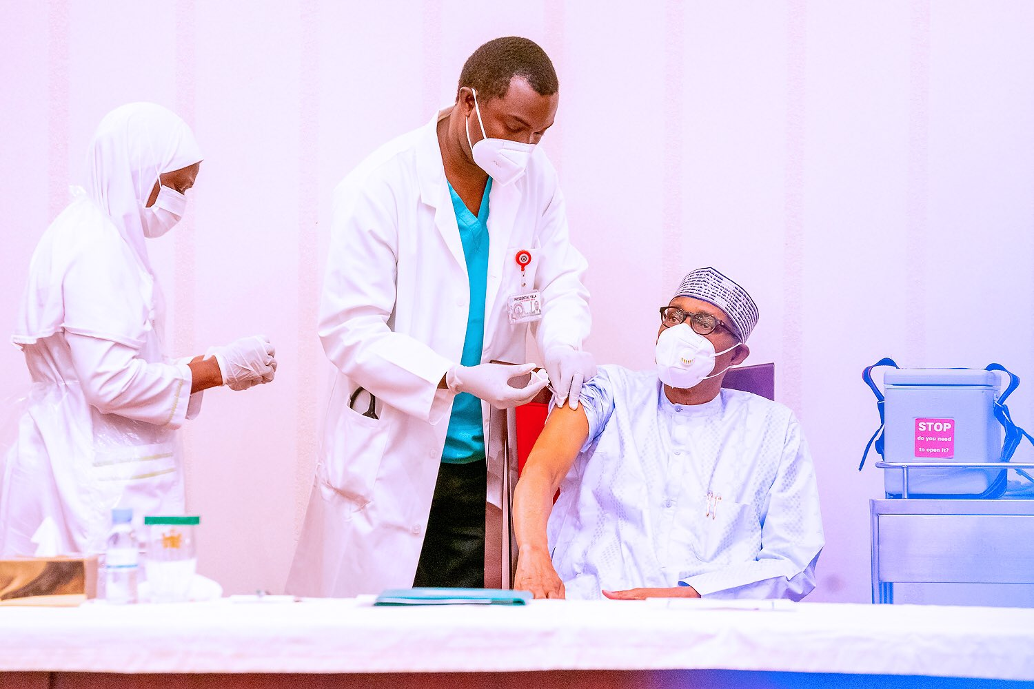 President Buhari, Osinbajo Receive Jabs Of COVID-19 Vaccine As National Vaccination Program Commence