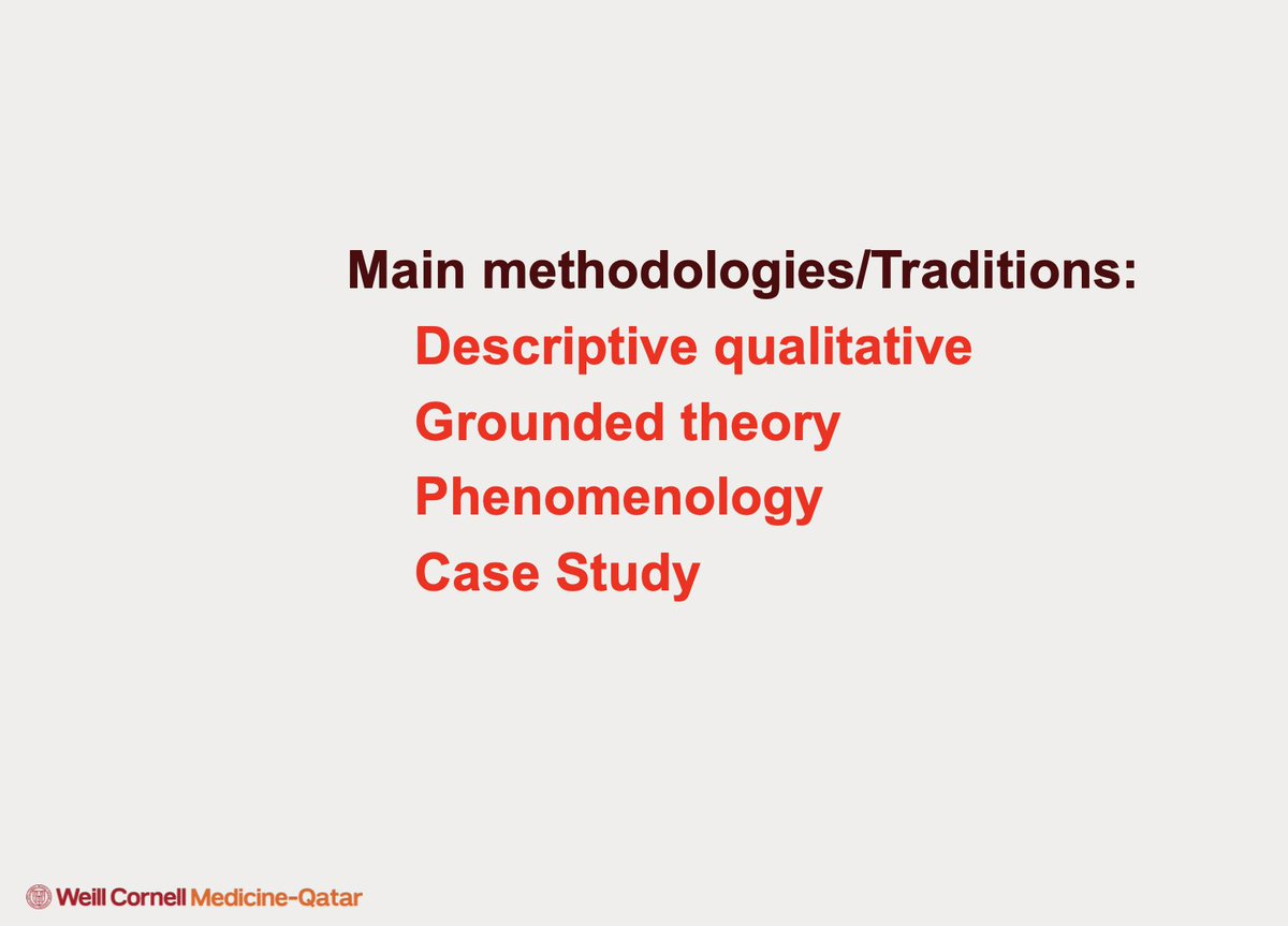 Dr. Honein-AbouHaidar lists the main methodologies for qualitative research   #IQR2021 #qualitativeresearch #qualitativesurveys #healthcare #datamanagement #thematic #sampling  @WCMQatar   @WeillCornell   @AUBMC_Official   @Mahfoud_Ziyad   @GladysAbouha
