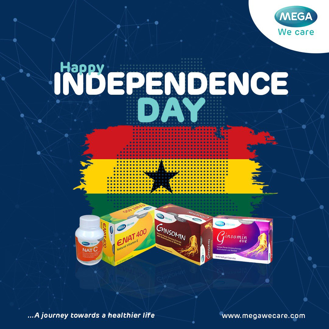 Happy independence day to all Ghanaian 🇬🇭   ...a journey towards a healthier life.  #happyvalentinesday  #ginsomin #immunity #performance #energy #megawecaregh #pharmaceutical #pharmacy #ghana