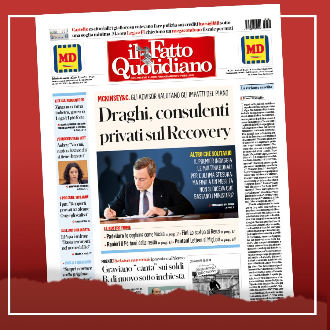 RT @fattoquotidiano: Draghi, consulenti privati sul Recovery Leggi: https://t.co/y0Xs11gTb8 #6marzo #edicola https://t.co/iDT4KdMOpH