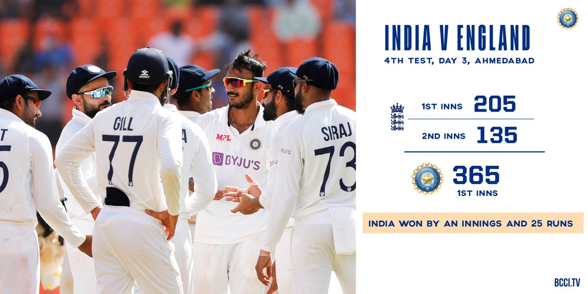#TeamIndia win the fourth & final @Paytm #INDvENG Test & seal a place in the ICC World Test Championship Final! 👍👍  5⃣ wickets each for @akshar2026 & @ashwinravi99 in the second innings! 👌👌  Scorecard 👉