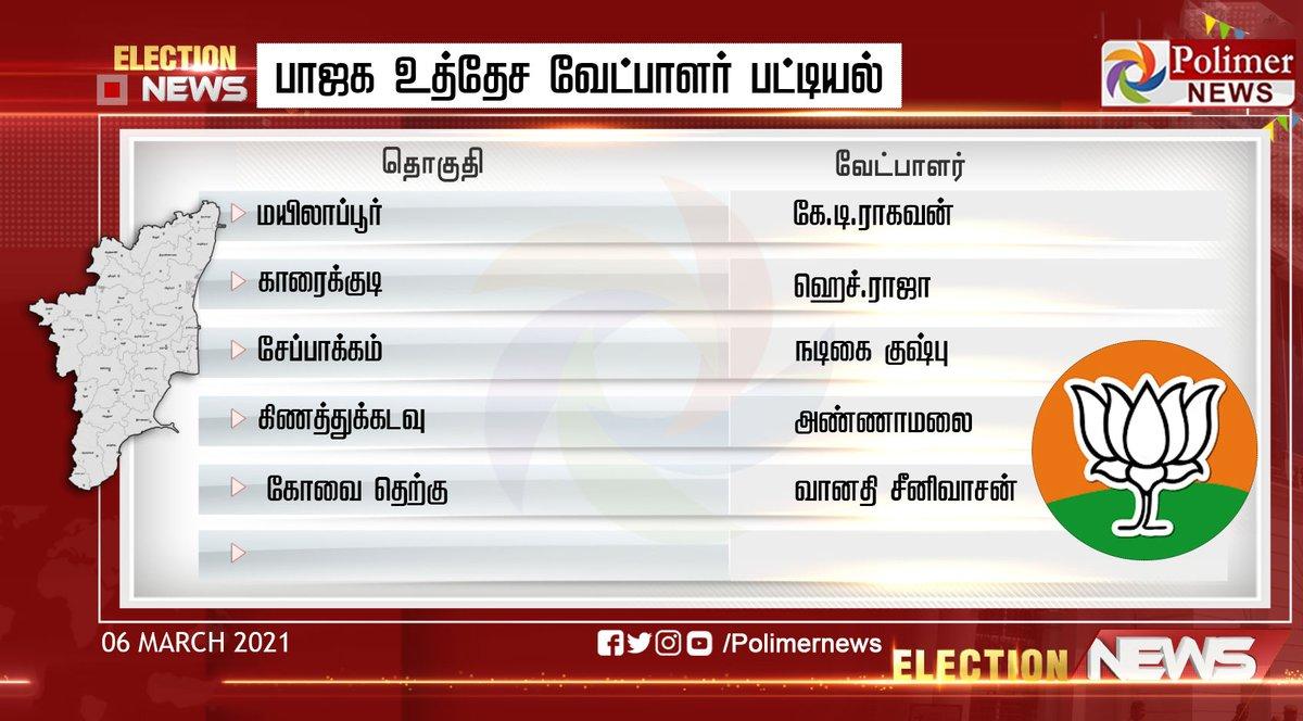 #JUSTIN || பாஜக உத்தேச வேட்பாளர் பட்டியல் #TNAssemblyElection2021 #TNElection2021 #Election2021 #AssemblyElection2021 #BJP https://t.co/bSqleA1120