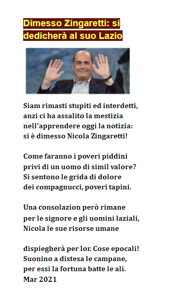 Dimissioni Zingaretti