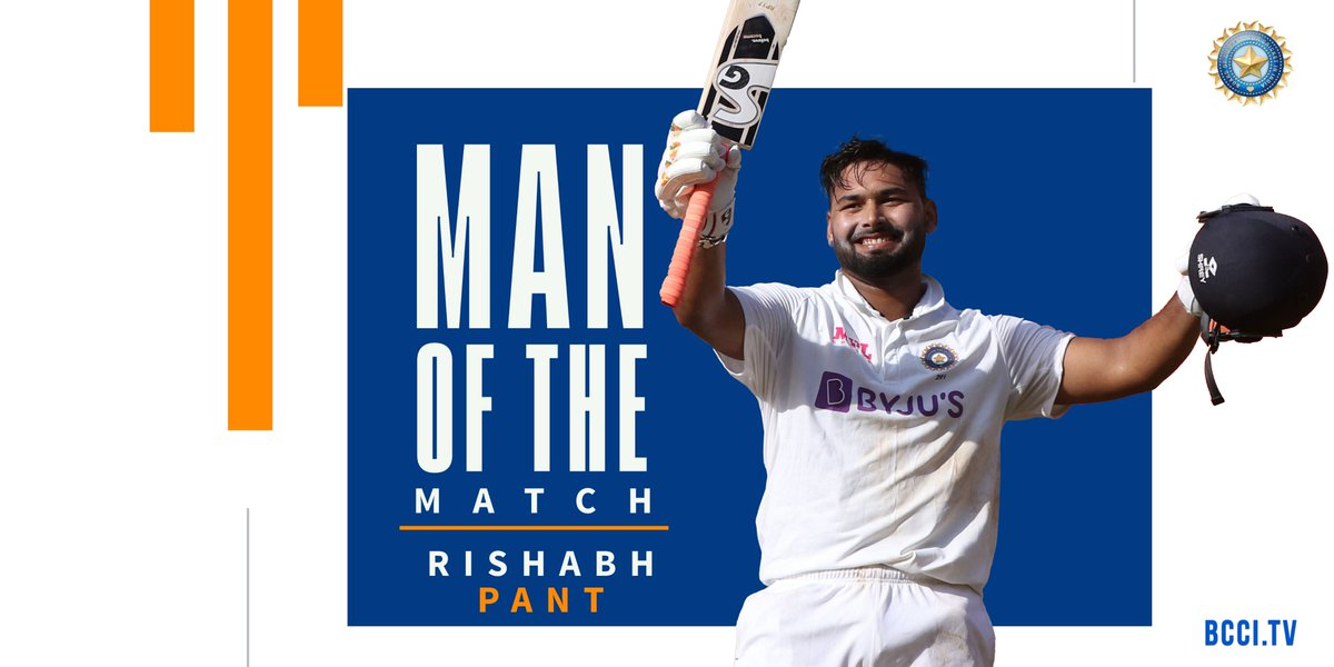 For one of the best counter-attacking centuries you will see of late 🔝 and being a live wire ⚡⚡behind the stumps - Rishabh Pant is the Player of the Match 😎   #TeamIndia #INDvENG @Paytm