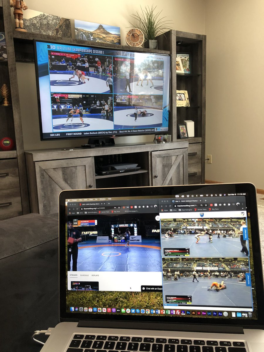 Is this dedication or a mild obsession? #b1gquadbox + #NAIAwrestle semis + #WrestleRome21 finals
