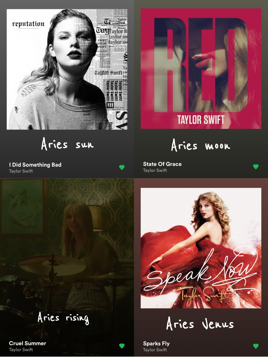 quote retweet with your big three + venus of taylor swift songs!!!