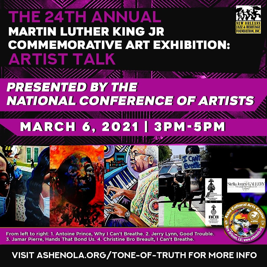 Head to our FB Live TODAY, Mar 6 at 3pm CT for an intimate conversation ft artists from The Hammer of Civil Rights exhibit (link in bio).  This week's episode features Roderick Anderson, Debra Alexander Austin, Zerric Clinton, Pat Jolly, and Theresa Crushshon.   #AsheNOLA #MLK