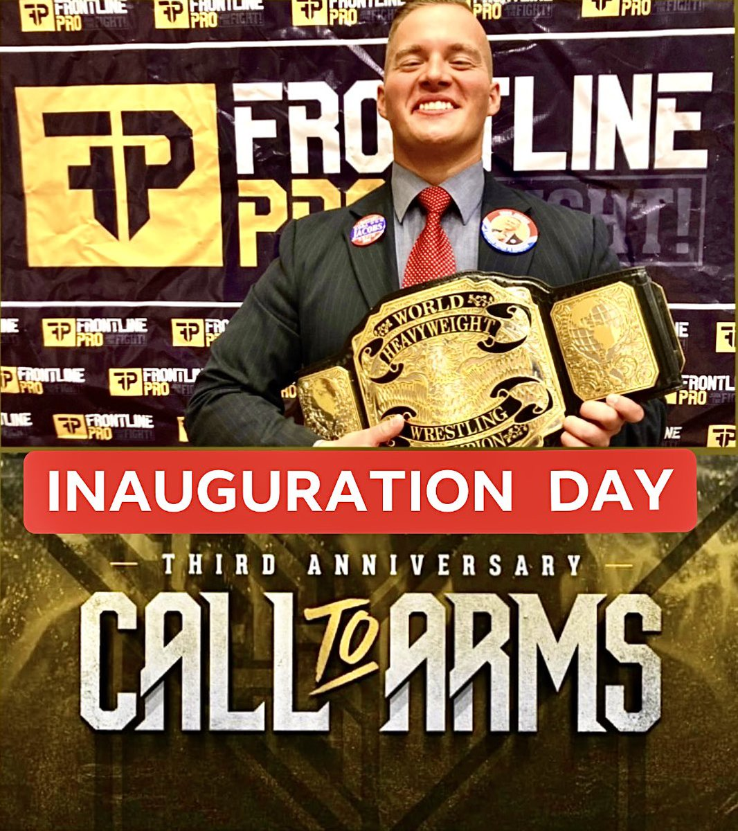In two weeks,  Join us for the most important night in this company's history. The night we coronate a new leader, and a new bright chapter in @FrontlinePro1.  03.20.21 - It's INAUGURATION DAY. 🏆 🇺🇸  #ABrighterFutureInWrestling #KODA21 #FrontlinePro #CallToArms #InaugurationDay