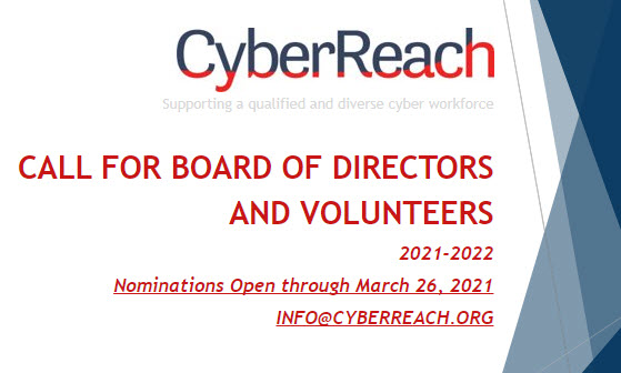 It's that time! Volunteer opportunities in K-12 Cyber and STEM programs, mentor Veteran transition to cyber careers and earn cyber CPEs at the same time.  Volunteer, nominate or questions at info@cyberreach.org through March 26. #volunteer #community #cyber #STEM