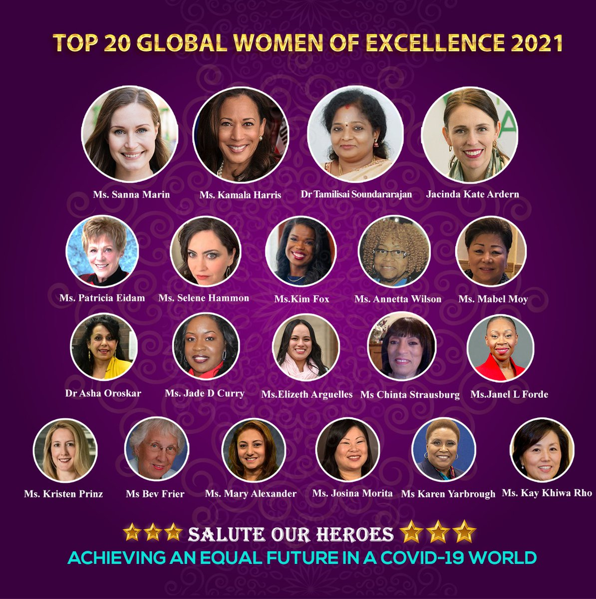 I am Greatly Pleased to be honored among Top 20 Global #women of Excellence.I Thank Multi Ethnic Advisory Task Force ,#Illinois Headed by #USA Congressman Danny K Davis.I hope this recognition will inspire others in creating a sustainable, Peaceful, Inclusive & Equitable #India.