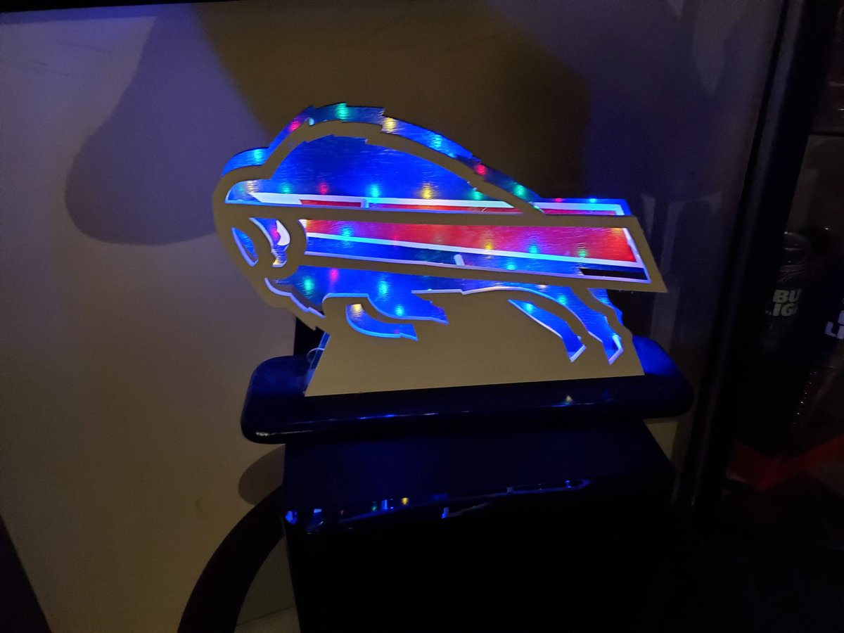Hey Gals/guys #Billsmafia, Im getting a bunch of messages asking about these lights my dad is making. I believe he charges $60 plus shipping. If you want to get a hold of him, his email is coopart7@gmail.com and his name is Jerry. Tell him I sent ya!