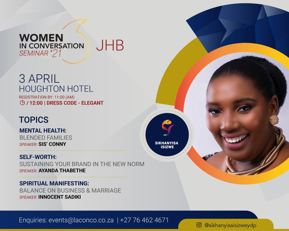 Sanibonani egoli.  It's been over a year not hosting however time has arrived for us to empower one another again. Seats are limited please see details to secure your space, Covid-19 regulations will apply.  @ayandathabethe_  @innosadiki  #LaConco  #womeninconversation