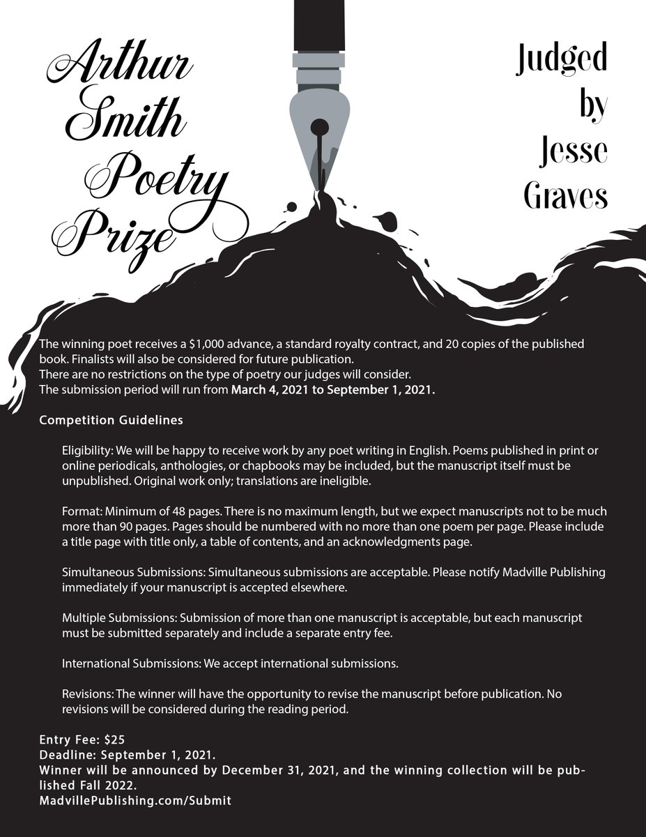 We have a new poetry competition opening this weekend at #AWP21. We'd love to see you at the #awp21bookfair this afternoon between 2:30 and 5:00 p.m. CST (virtually) to tell you all about THE ARTHUR SMITH POETRY PRIZE. https://t.co/Jv3dXnSHFd
