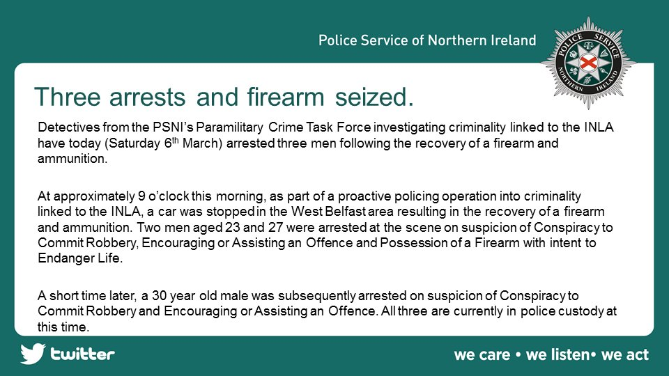 Detectives from the PSNI's Paramilitary Crime Task Force investigating criminality linked to the INLA have today (Saturday 6th March) arrested three men following the recovery of a firearm and ammunition. #Endingtheharm https://t.co/hrXcmpDyQL