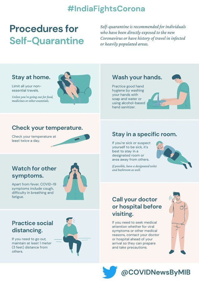 Follow procedures for #SelfQuarantine & be a hero in nation's fight against #COVID19. ➡️#StayHome ➡️Wash hands  ➡️Check temperature ➡️Stay in specific room ➡️Practice #PhysicalDistancing  ➡️Call doctor before visiting hospital  #StaySafe #Unite2FightCorona