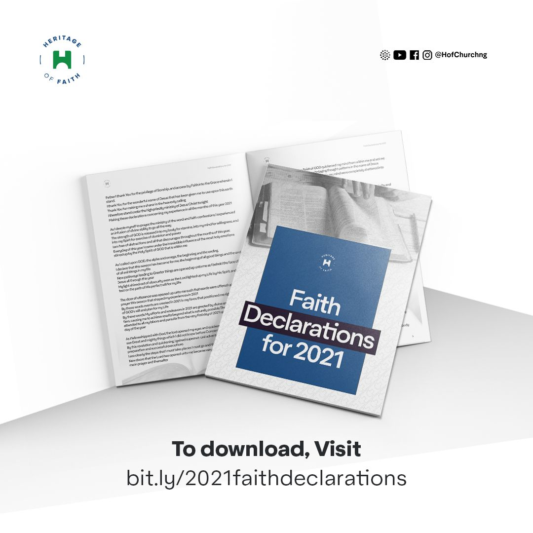In case you missed this:  Download 20201 FAITH DECLARATIONS  Click this link:   #HoFChurchNG #HoF #StrongerBelievers