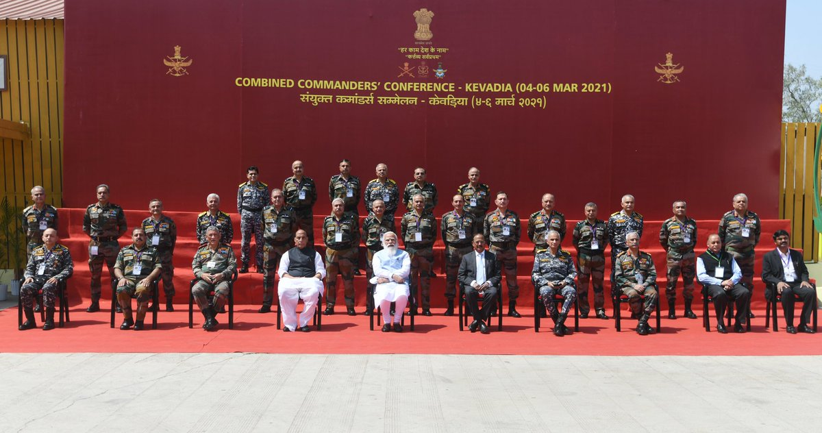 The Combined Commanders' Conference at Kevadia was a fruitful one. There were extensive deliberations on various strategic subjects. Highlighted the need for making India Aatmanirbhar in the defence sector and reiterated the Government's support for it.
