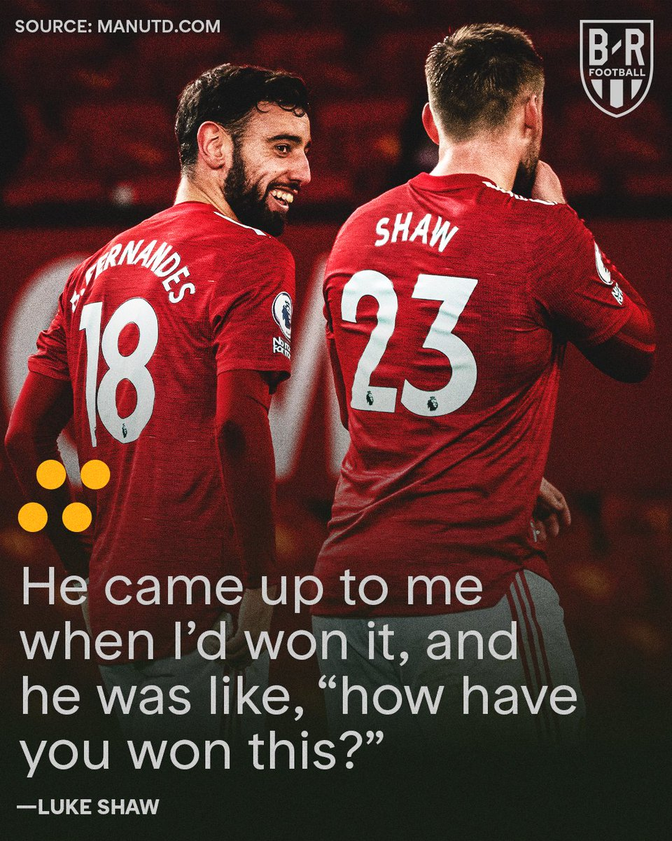Bruno Fernandes is so used to winning all the awards since he joined Manchester United that he didn't expect Luke Shaw to beat him to the club's Player of the Month award 🤣