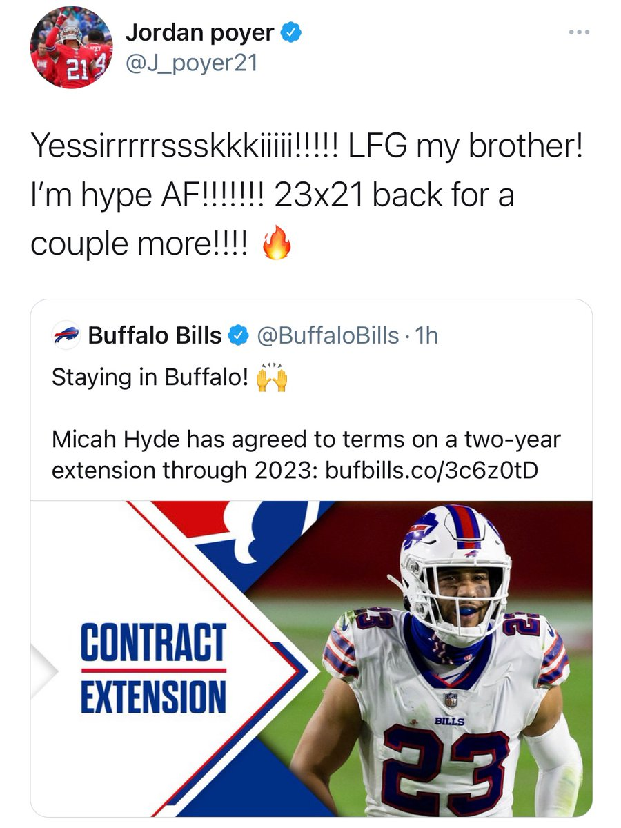 Best friend energy. 😍  @Micah_Hyde x @J_Poyer21