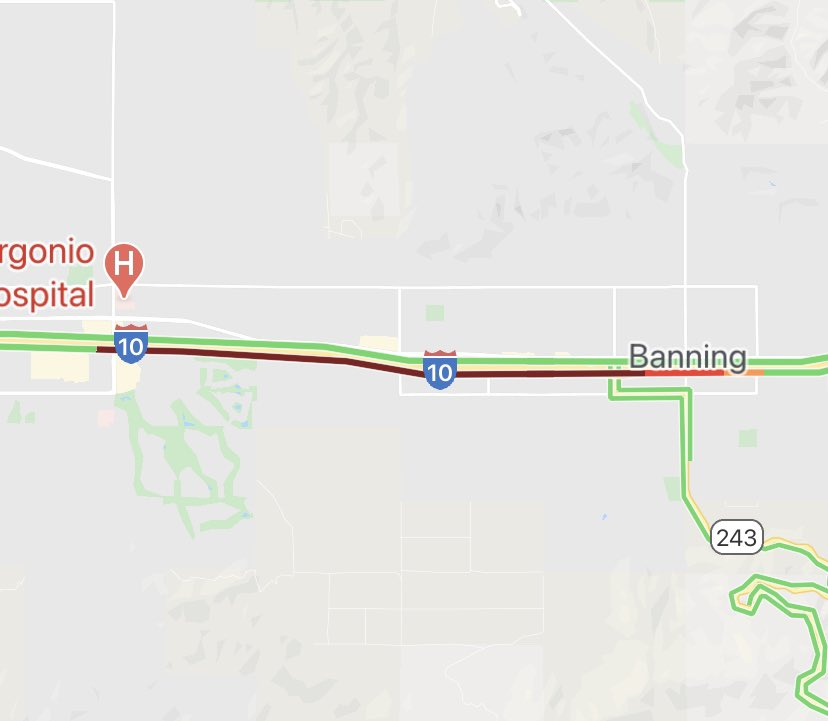 Bridgework on Eastbound 10 in Banning is now moving to Westbound 10 between Hargrave and 22nd St for emergency bridge deck repair until 7 pm tonight. Thank you for your patience. AVOID THE Westbound 10 in Banning.